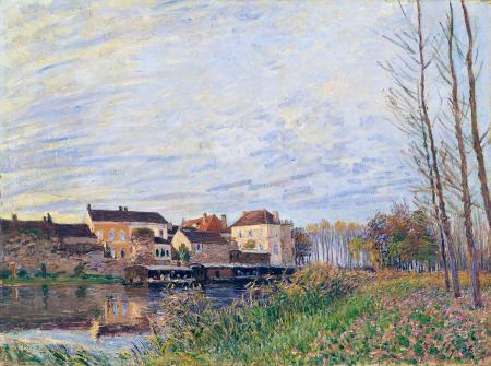 Заставки Alfred Sisley, осень, закат, река
