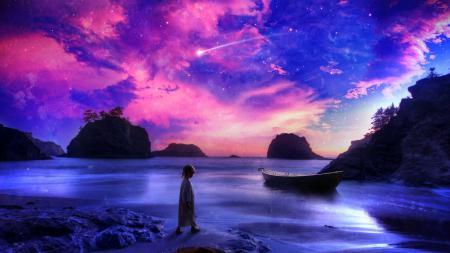 Обои живопись, пейзаж, красота, берег