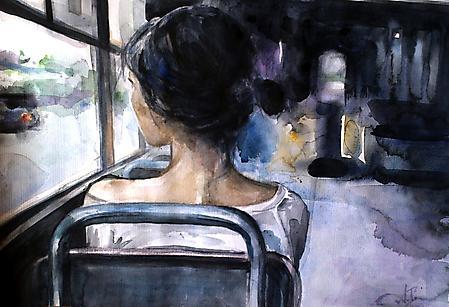 Заставки девушка в автобусе, смотрит в окно, краски, 2400x1640 px
