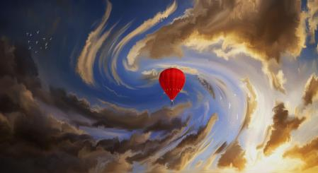 Заставки арт, небо, облака, воздушный шар