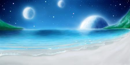 Картинки море, пляж, небо, планеты