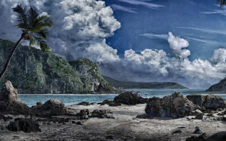 Рисунки нарисованный пейзаж, скалы, песок, море