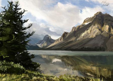 Обои арт, природа, горы, река