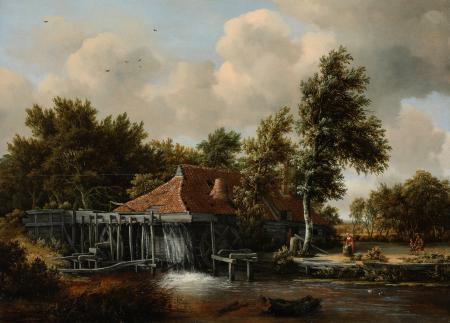 Рисунки Meindert Hobbema, картина, пейзаж, мельница