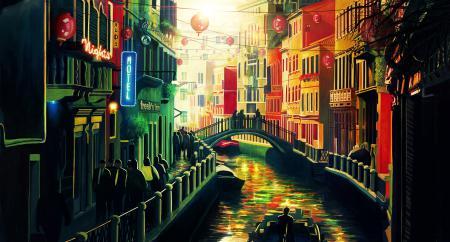 Заставки город, дома, мост, канал