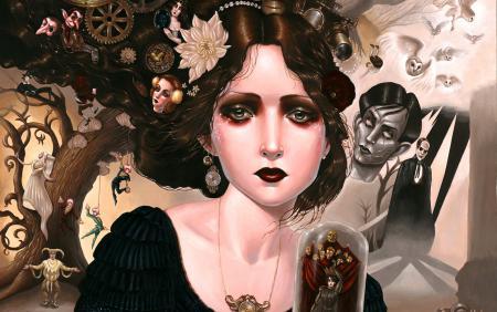 Рисунки Портрет, девушка, совы, клоуны