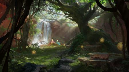 Рисунки арт, сад, девушки, водопад