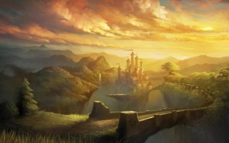 Заставки замок, мост, облака, пейзаж