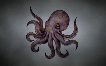 Картинки осьминог, octopus, темноватый фон, щупальца