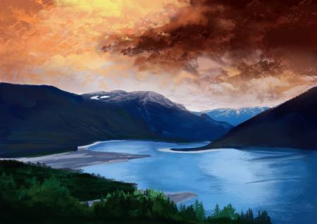 Рисунки арт, пейзаж, горы, деревья