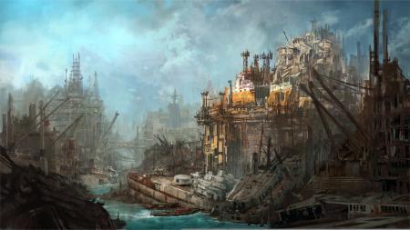 Рисунки арт, город, корабли, руины