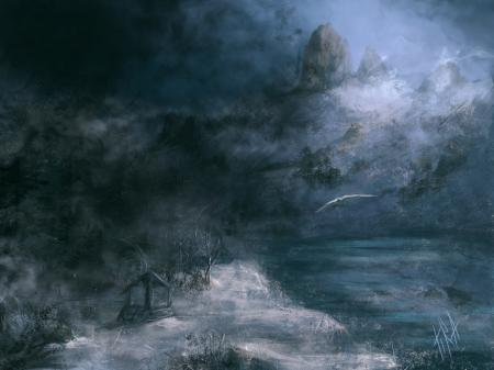 Рисунки арт, зима, горы, река