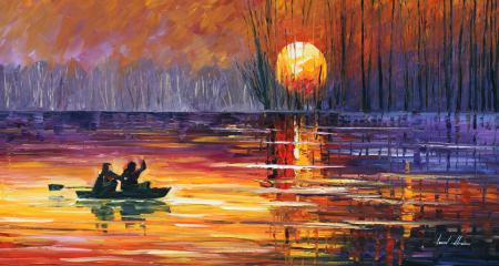 Рисунки Leonid Afremov, озеро, лодка, люди