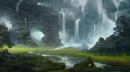 Обои арт, пейзаж, горы, долина