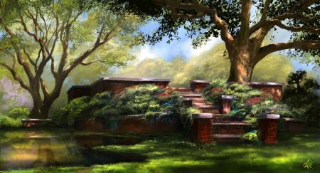 Заставки живопись, арт, деревья, природа