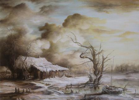 Заставки арт, пейзаж, зима, снег
