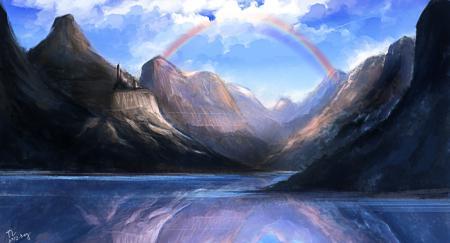 Рисунки арт, tlrose, радуга, горы