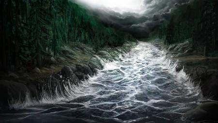 Обои арт, река, речка, поток