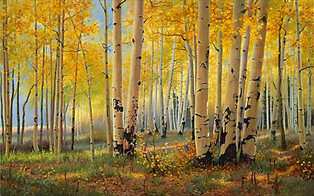 Заставки Kay Witherspoon, Pillars Of Gold, осенний лес, березы