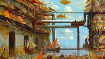 Рисунки арт, город, трубы, корабли