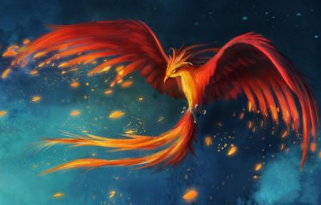 Рисунки жар птица, феникс, огненные крылья, хвост в огне