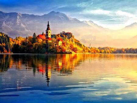 Заставки красивые дома, остров, золотая осень, желтые листья