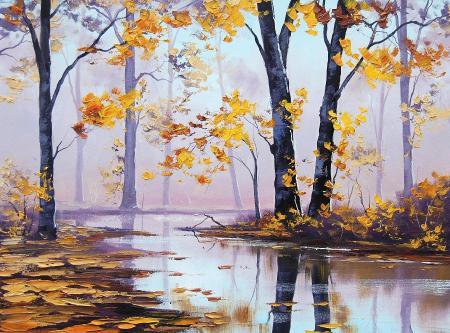 Заставки нарисованный лес, осень наступила, осенний пейзаж, река