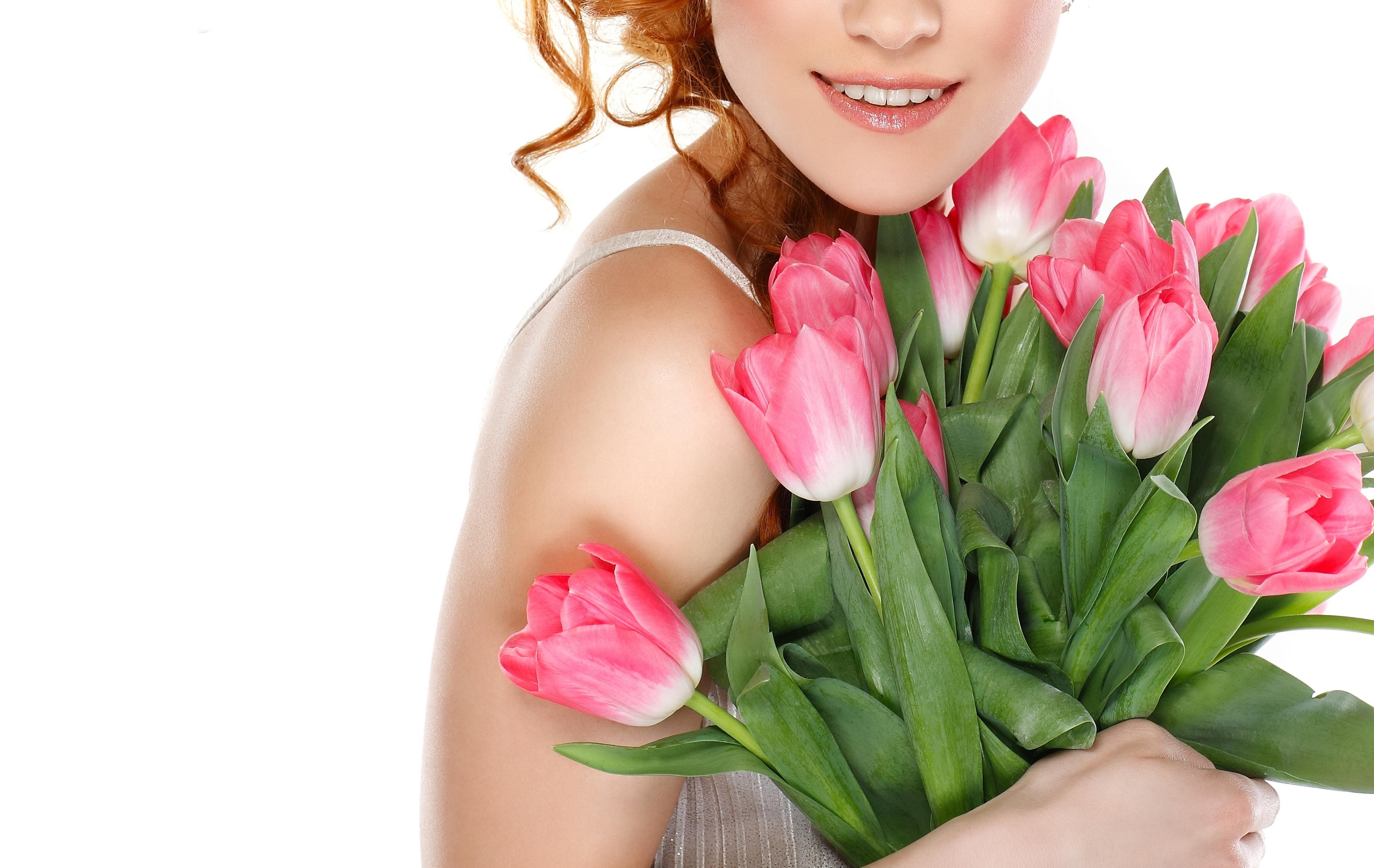 Открытки с женщиной с цветами
