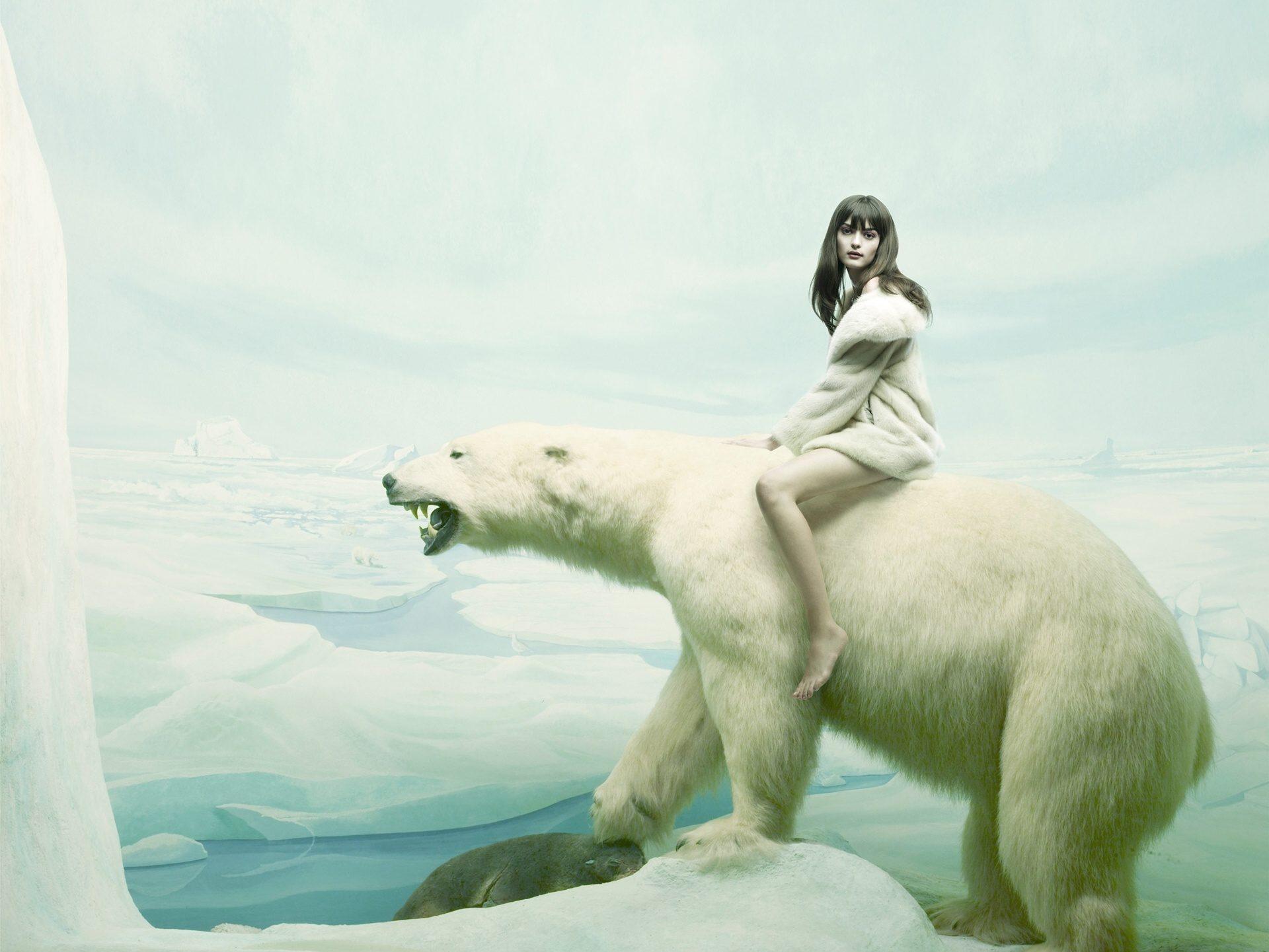 Обои девушка на белом медведе скачать