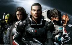 Заставки Mass Effect 2, captain shepard, команда, космос