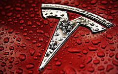 Картинки Tesla Motors, red, silver, logo