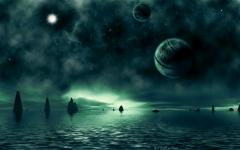 Обои sci fi landscapes, water, rocks, sea