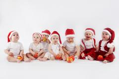 Обои new year, merry christmas, beautiful group of babies, christmas hats