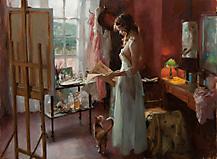 Картинки художник Vicente Romero скачать на рабочий стол, рисунки девушка читает газету