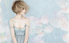 Картинки нарисованная девушка скачать для рабочего стола, рисунки блондинка. волосы на ветру