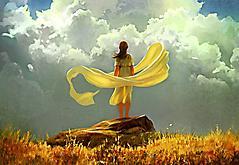 Обои девушка в желтом скачать на рабочий стол, заставки нарисованная